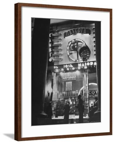 View Showing the Exterior of the Biggest Montevideo Place For Selling Lottery Tickets-Hart Preston-Framed Art Print