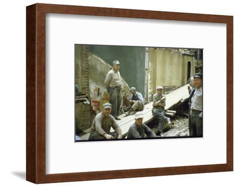 "Men from Demolition Crew on Their Break in Story ""The Wreckers""-Walker Evans-Framed Art Print"