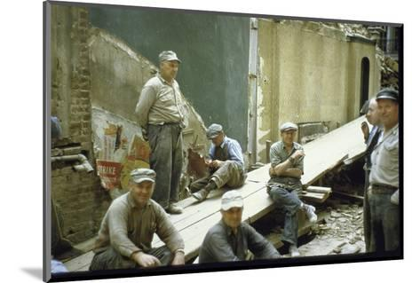 """Men from Demolition Crew on Their Break in Story """"The Wreckers""""-Walker Evans-Mounted Photographic Print"""