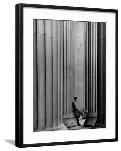 Student Leaning Against Ionic Columns at Entrance of Main Building at MIT-Gjon Mili-Framed Art Print