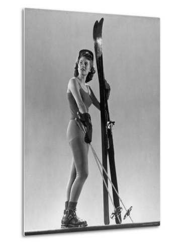 Model Wearing Long Wool Ski Underwear-Gjon Mili-Metal Print