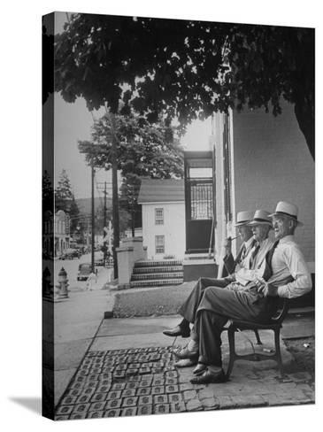 The Bench in Front of the Pawling National Bank is a Gathering Place For Men of the Town-Nina Leen-Stretched Canvas Print