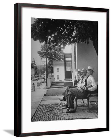 The Bench in Front of the Pawling National Bank is a Gathering Place For Men of the Town-Nina Leen-Framed Art Print