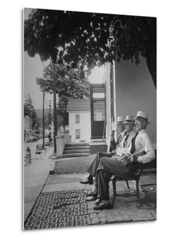 The Bench in Front of the Pawling National Bank is a Gathering Place For Men of the Town-Nina Leen-Metal Print