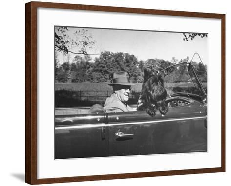 President Franklin D. Roosevelt Driving in His Convertible with His Dog Fala Through Hyde Park-George Skadding-Framed Art Print