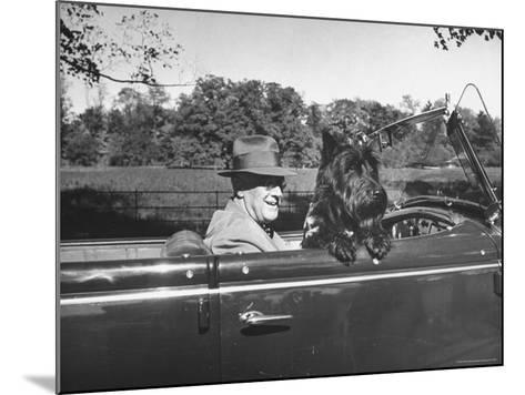 President Franklin D. Roosevelt Driving in His Convertible with His Dog Fala Through Hyde Park-George Skadding-Mounted Photographic Print