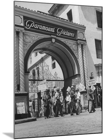 View of Picket Lines in Front of Paramount Studios During a Set Directors Strike-Martha Holmes-Mounted Photographic Print