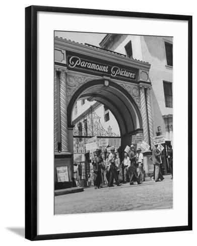 View of Picket Lines in Front of Paramount Studios During a Set Directors Strike-Martha Holmes-Framed Art Print