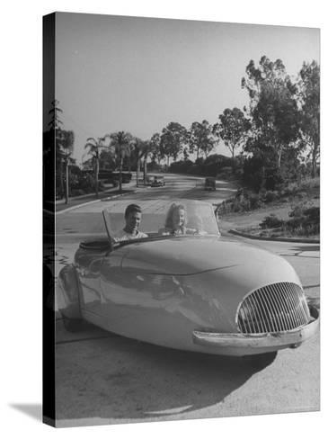Young People Driving a Three Wheeled Auto-Nina Leen-Stretched Canvas Print