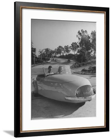 Young People Driving a Three Wheeled Auto-Nina Leen-Framed Art Print