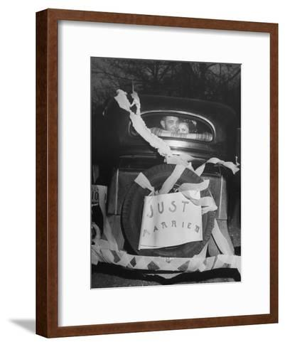 Vern Tobias and His Wife Eleanor, Leaving Home After Their Wedding-Sam Shere-Framed Art Print