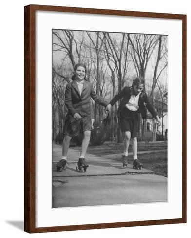 "Typical 10 Year Old Girls Known as ""Pigtailers"" Roller Skating-Frank Scherschel-Framed Art Print"