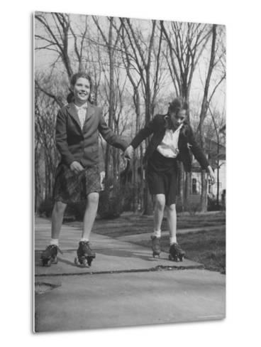 "Typical 10 Year Old Girls Known as ""Pigtailers"" Roller Skating-Frank Scherschel-Metal Print"