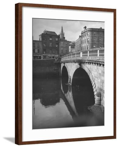 View of the Liffey River and the Metal Bridge in Dublin-Hans Wild-Framed Art Print