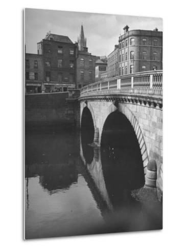 View of the Liffey River and the Metal Bridge in Dublin-Hans Wild-Metal Print