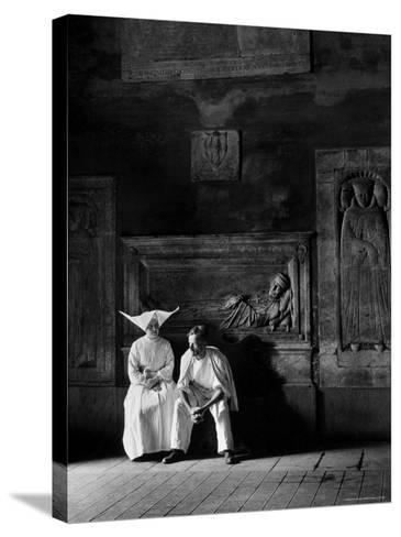 Two People Sitting in Hospital Where St. Catherine Nursed People with the Plague-Walter Sanders-Stretched Canvas Print