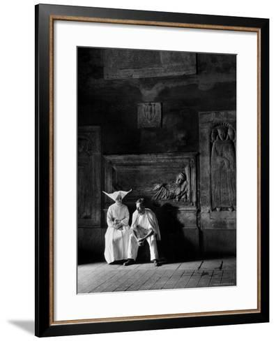 Two People Sitting in Hospital Where St. Catherine Nursed People with the Plague-Walter Sanders-Framed Art Print
