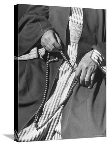 Moslem Sheikh Holding Amber Beads-John Phillips-Stretched Canvas Print