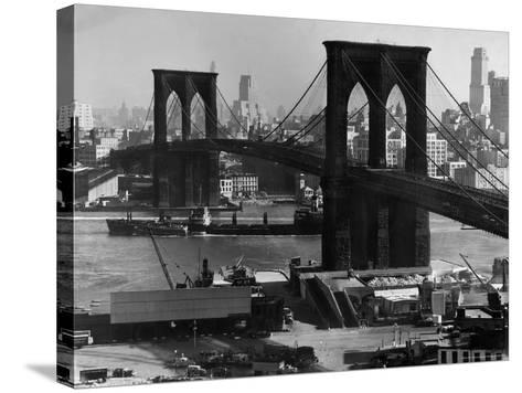 View of the Brooklyn Bridge Looking Toward Brooklyn-Andreas Feininger-Stretched Canvas Print