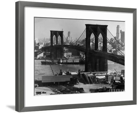View of the Brooklyn Bridge Looking Toward Brooklyn-Andreas Feininger-Framed Art Print