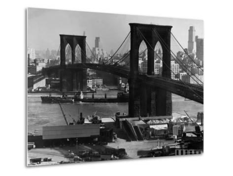 View of the Brooklyn Bridge Looking Toward Brooklyn-Andreas Feininger-Metal Print