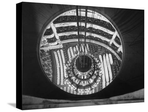 The Circular Tower in the Paris Opera Housing the Chandelier When It is Brought Up-Walter Sanders-Stretched Canvas Print