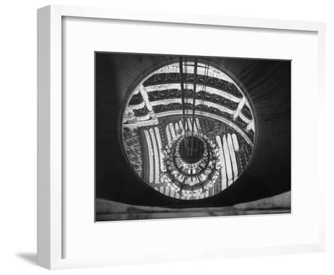 The Circular Tower in the Paris Opera Housing the Chandelier When It is Brought Up-Walter Sanders-Framed Art Print