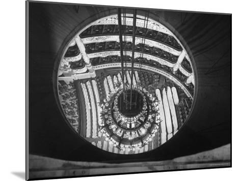 The Circular Tower in the Paris Opera Housing the Chandelier When It is Brought Up-Walter Sanders-Mounted Photographic Print