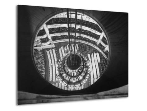 The Circular Tower in the Paris Opera Housing the Chandelier When It is Brought Up-Walter Sanders-Metal Print