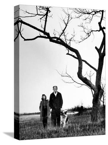 Painter Jackson Pollock Walking in Field with Wife Lee Krasner-Martha Holmes-Stretched Canvas Print