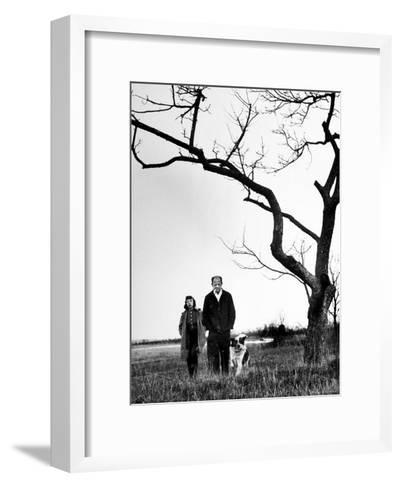 Painter Jackson Pollock Walking in Field with Wife Lee Krasner-Martha Holmes-Framed Art Print
