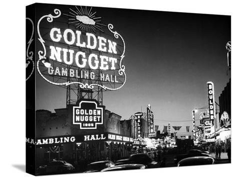 The Golden Nugget Gambling Hall Lighting Up Like a Candle-J^ R^ Eyerman-Stretched Canvas Print