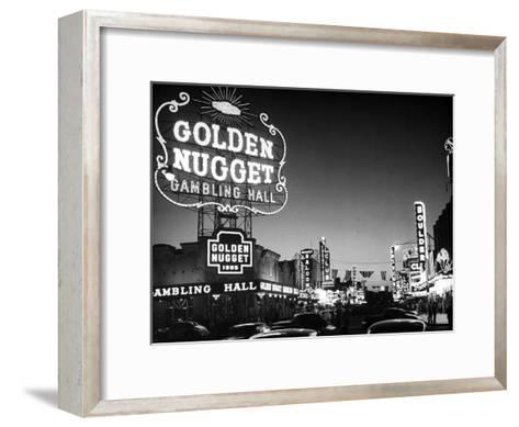 The Golden Nugget Gambling Hall Lighting Up Like a Candle-J^ R^ Eyerman-Framed Art Print