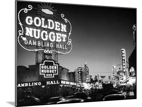 The Golden Nugget Gambling Hall Lighting Up Like a Candle-J^ R^ Eyerman-Mounted Photographic Print