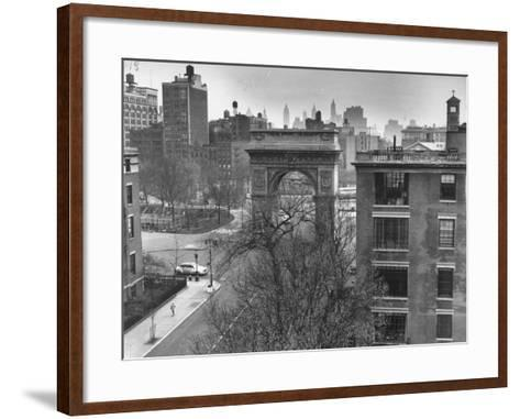 Washington Arch Standing at North Entrance to Square and Straddles Foot of Fifth Avenue-Walter Sanders-Framed Art Print