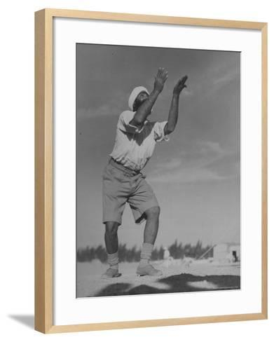Sikh Soldiers Playing Volleyball at Indian Army Camp in the Desert Near the Great Pyramids-Margaret Bourke-White-Framed Art Print