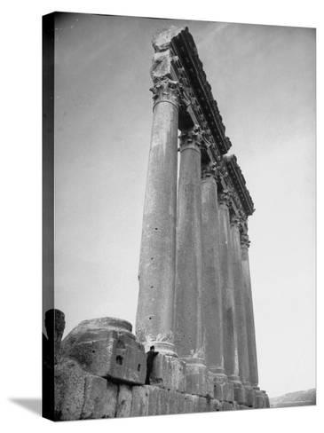The Great Columns of the Temple of Jupiter in Ruins-Margaret Bourke-White-Stretched Canvas Print