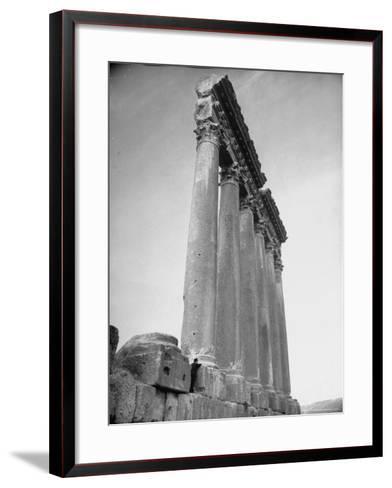 The Great Columns of the Temple of Jupiter in Ruins-Margaret Bourke-White-Framed Art Print