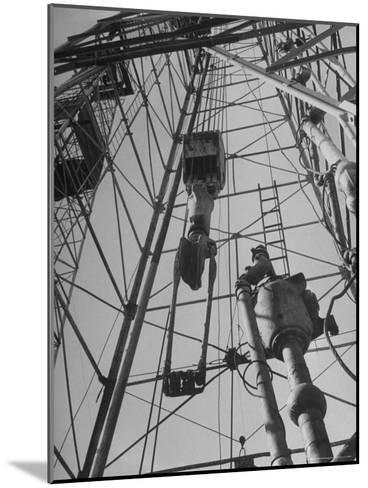 View Looking Up Derrick During Oil Drilling Operations Off Louisiana Coast-Margaret Bourke-White-Mounted Photographic Print