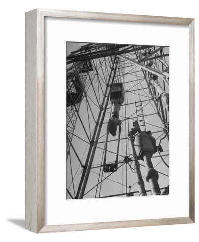 View Looking Up Derrick During Oil Drilling Operations Off Louisiana Coast-Margaret Bourke-White-Framed Art Print