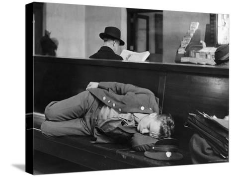 Soldier Sleeping on Bench in Waiting Room at Pennsylvania Station-Alfred Eisenstaedt-Stretched Canvas Print