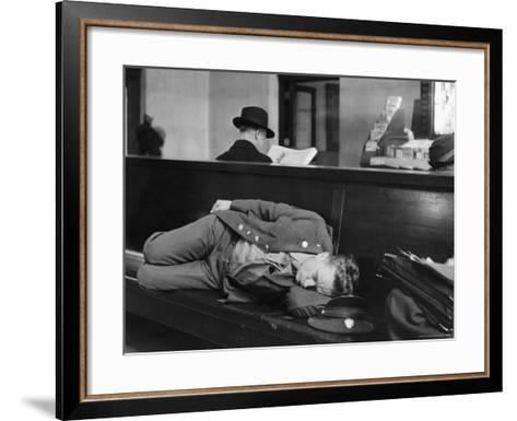 Soldier Sleeping on Bench in Waiting Room at Pennsylvania Station-Alfred Eisenstaedt-Framed Art Print