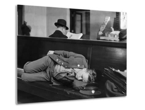 Soldier Sleeping on Bench in Waiting Room at Pennsylvania Station-Alfred Eisenstaedt-Metal Print