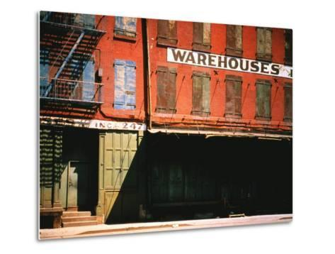 Shuttered Warehouse on the Lower East Side Lit by Late Day Sunlight-Walker Evans-Metal Print