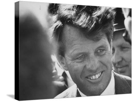 Senator Robert F. Kennedy During Campaign Trip to Help Election of Local Democrats-Bill Eppridge-Stretched Canvas Print