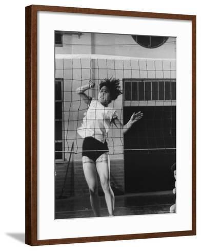 Member of Japan's Nichibo Championship Women's Volleyball Team-Larry Burrows-Framed Art Print