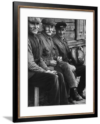Old Men Smiling, Sitting on Bench, After Waiting in Line For Meat-Paul Schutzer-Framed Art Print