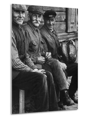 Old Men Smiling, Sitting on Bench, After Waiting in Line For Meat-Paul Schutzer-Metal Print