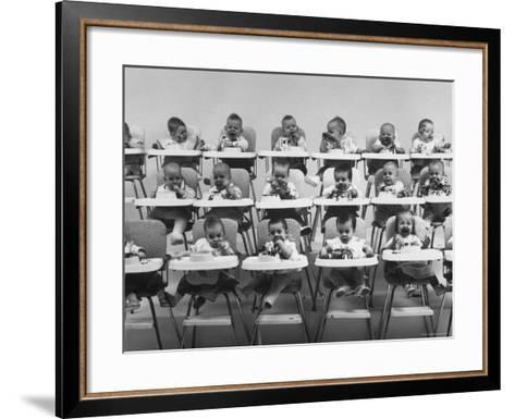 Plum Tapioca Pudding Sampled by 10 Sets of Twins-Yale Joel-Framed Art Print