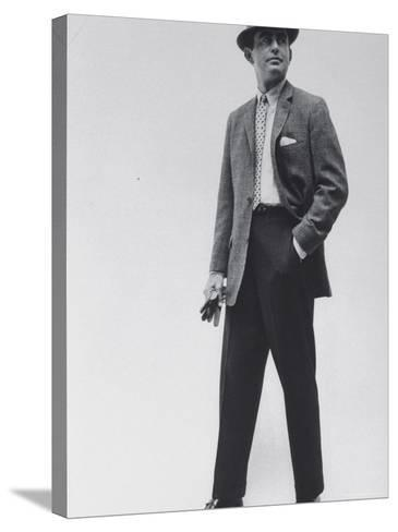 Model Wearing Proper Fashion Suits-Nat Farbman-Stretched Canvas Print